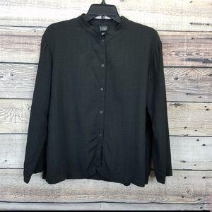 Eileen Fisher Medium Black Boxy Button Front Shirt